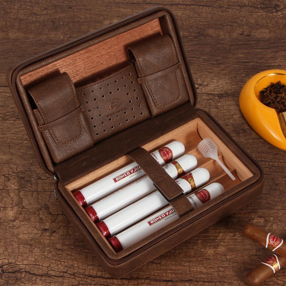Cave à cigares en cuir GALINER étui à cigares en bois de cèdre 4 porte-tubes boîte Sigaar pour COHIBA Cuba cigares boîte à cigares extérieure