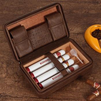 GALINER Leather Cigar Humidor Travel Cedar Wood Cigar Case 4 Tube Holder Sigaar Box For COHIBA Cigars Outdoor Humidor Box galiner cedar wood cigar humidor de puros luxury big humidor box home cigar case for cohiba cigars w hygrometer humidifiers