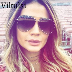 2017 Rimless Gradient Aviator Sunglasses Brand Designer Pilot Frame Rivet Steampunk Sunglasses Oversize oculos de sol feminino
