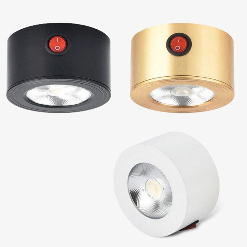 סוללה-מופעל 5 w LED COB Downlight אור תקרת ספוט מנורת עם On/Off עבור ארונות, ארונות, ויטרינות