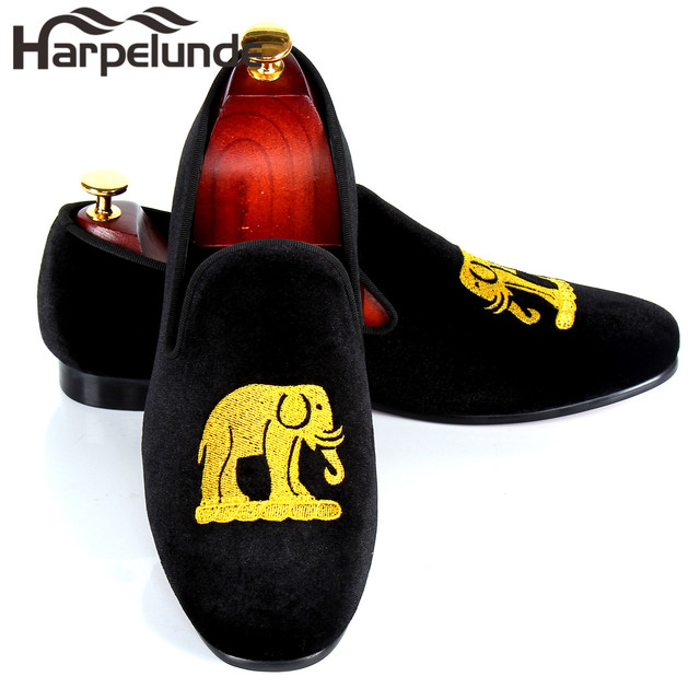 2eda24bd2c0 Harpelunde Velvet Loafers Mens Flats Emrbroidery Casual Shoes Custom  Smoking Slippers Size 7-12