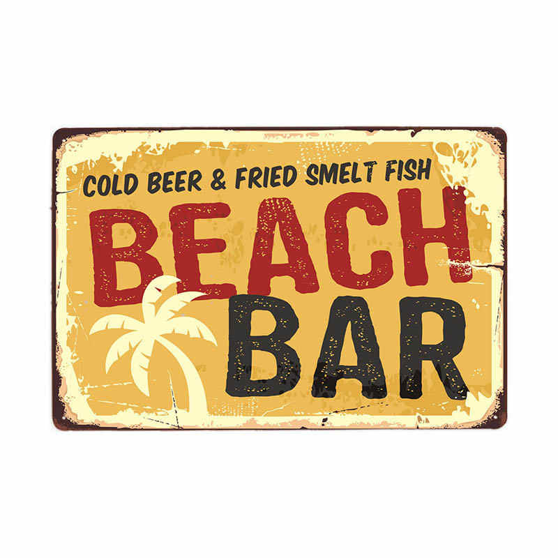 Vintage Surf Time Poster Estate Tiki Bar Tin Sign Vecchio Arrugginito Bar Sulla Spiaggia Retro Arrugginito Bordo Del Metallo Segni 20X30 Centimetri
