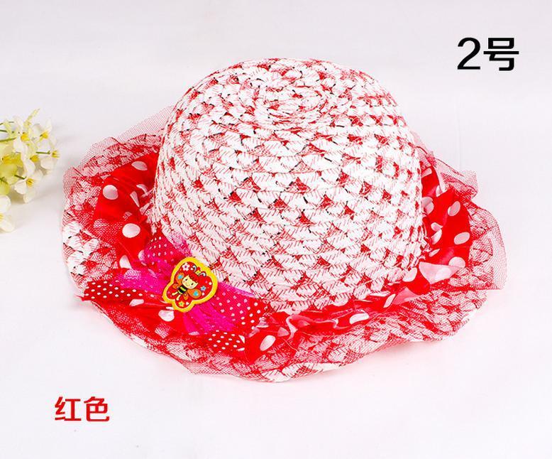 Шляпы от солнца Пляжная Шляпа летняя солнцезащитный козырек шляпа корейская детская кружевная принцесса кружевной капор пляжная шляпа 4254 - Цвет: 2