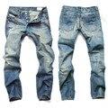 Brand Jeans Para Hombre Recto Jeans Rasgados Para Los Hombres Button Fly Jeans Hombres Diseñador de Moda los Pantalones de Alta Calidad