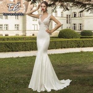 Image 2 - V צוואר תחרת Applique שמלות כלה ללא שרוולים בת ים סאטן חצאית ללא משענת לטאטא רכבת כלה שמלה עם נתיקה רכבת
