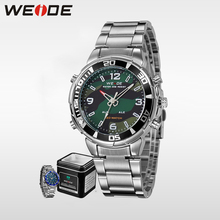 цена на WEIDE Men Sports Quartz Watch LED Analog Digital Display  Waterproof Army Military Stainless Steel Wrist Watch With Alarm clock