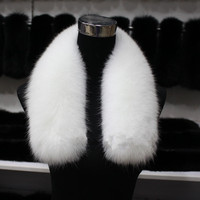 luxury natural fox fur scarf fashion women's winter warm ring for neck 75cm length 14cm width white fur collar F727