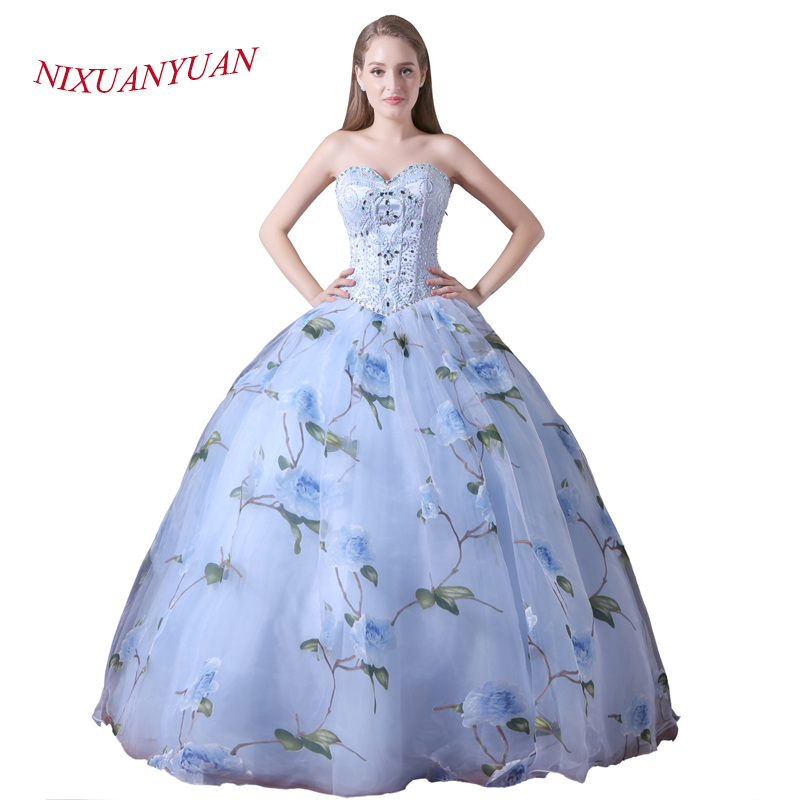 NIXUANYUAN 2018 New Design Organza Floral Print Princess Ball Gown Beaded Wedding Dress 2017 Beauty Bridal Gown vestido de noiva
