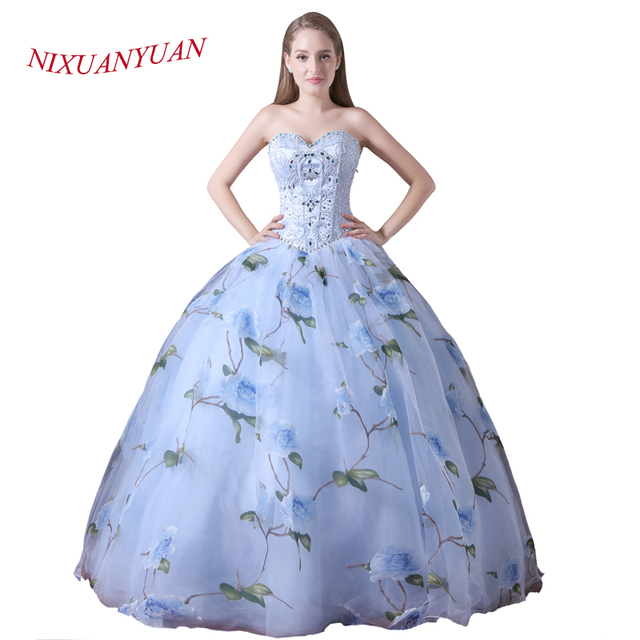 NIXUANYUAN 2018 New Design Organza Floral Print Princess Ball Gown ...