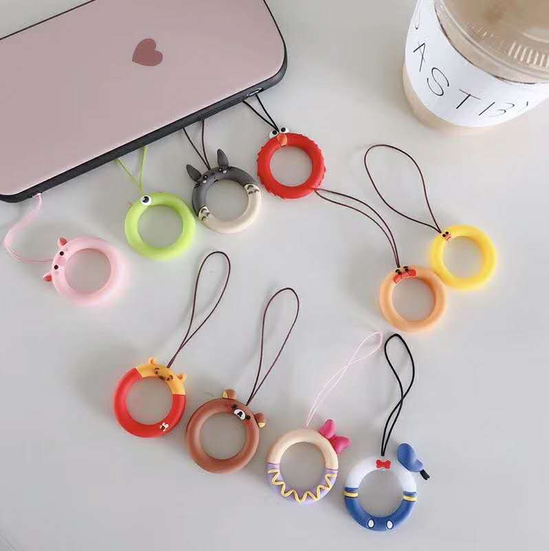 Kawaii Cute Cartoon Popular Anime Silicone Ring Lanyard Mobile Phone Cord Straps For IPhone Huawei Smart Smart Phone Rope String
