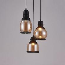 цены на Vintage Black Amber Glass Pendant Light Retro Hanging Glass Shades Industrial Pendant Lights Home Decor Dining Room Edison Loft  в интернет-магазинах