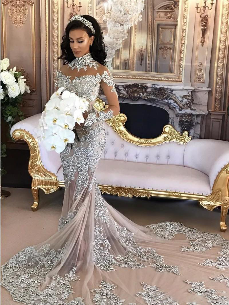 Купить с кэшбэком Long Sleeves Luxury Beading Formal Evening Dresses Mermaid Party Dubai Women Lace Crystals Prom Evening Gowns