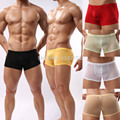Mens Underwear Man Sexy boxers Sheer Boxer shorts pouch penis Cheap price Free shipping