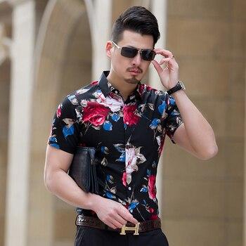 HCXY 2018 Summer Fashion Mens Shirt Slim Fit Short Sleeve Floral Shirt Mens Clothing Trend  Mens Casual Flower Shirts Size M-7XL 5
