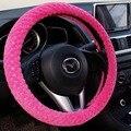 OHANNY nuevas llegadas rosa negro de felpa cubierta del volante del coche de invierno cálido universal 38 cm mujer hombre niña interior del coche accesorios