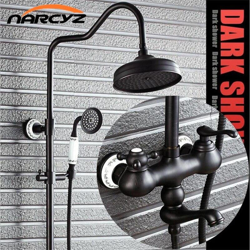 Bathroom European shower manufacturers black bronze shower set full copper retro shower faucet XT319