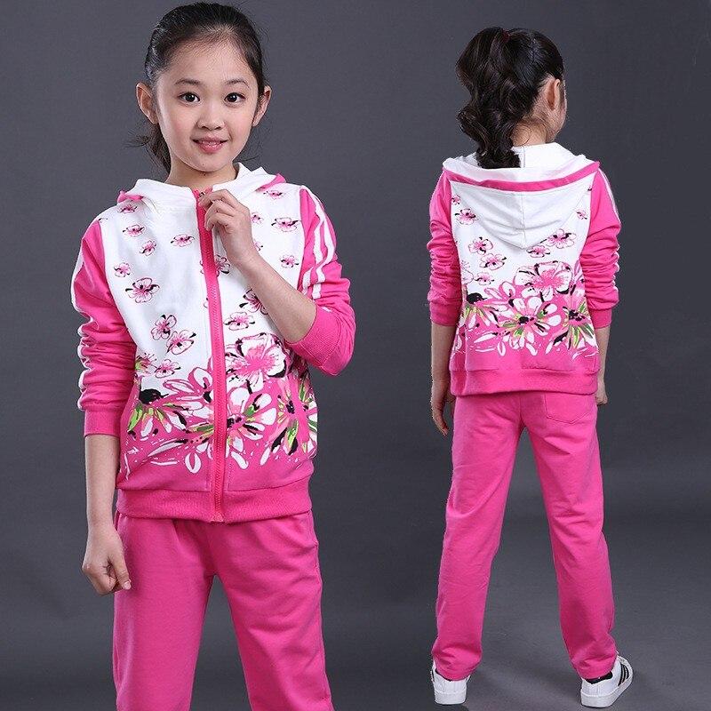 где купить Fashion pink lavender hot pink floral printed sport clothes for 11 year olds girls korean fashion clothing по лучшей цене