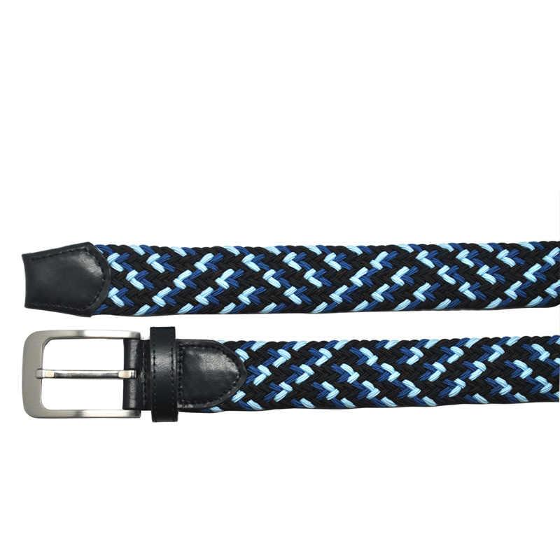 New elastis dikepang pria sabuk fashion 3 warna kain kulit asli kepala & tip disikat logam pin gesper kasual gaya (biru)