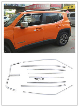 10Pcs Chrome Stainless Steel Door Window Sill Belt Trims Molding Strip Car Styling Fit For Jeep Renegade 2015 2016