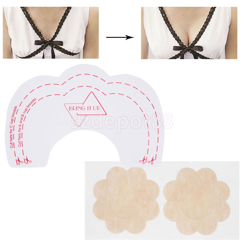 fc2deaff29 6x Breast Lift Up Bra Invisible Tape Enhancer+Nipple Cover Pad Sticker on  Aliexpress.com