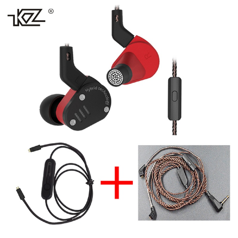 KZ ZSA In ear HIFI Armature Dynamic Hybrid Drive Bluetooth Wired Cables Metal Case Sport Music