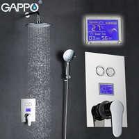 GAPPO in-Wall bathtub faucet tap bathroom shower faucet Chrome LED Digital Temperature bath thermostat shower tap Torneira de