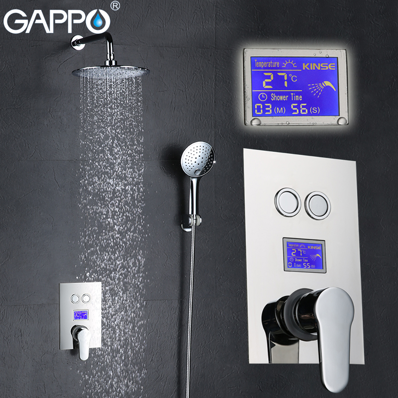GAPPO in-Wall bathtub faucet tap bathroom shower faucet Chrome LCD Digital Temperature bath thermostat shower tap Torneira de gappo bathtub faucet bath shower faucet waterfall wall shower bath set bathroom shower tap bath mixer torneira grifo ducha