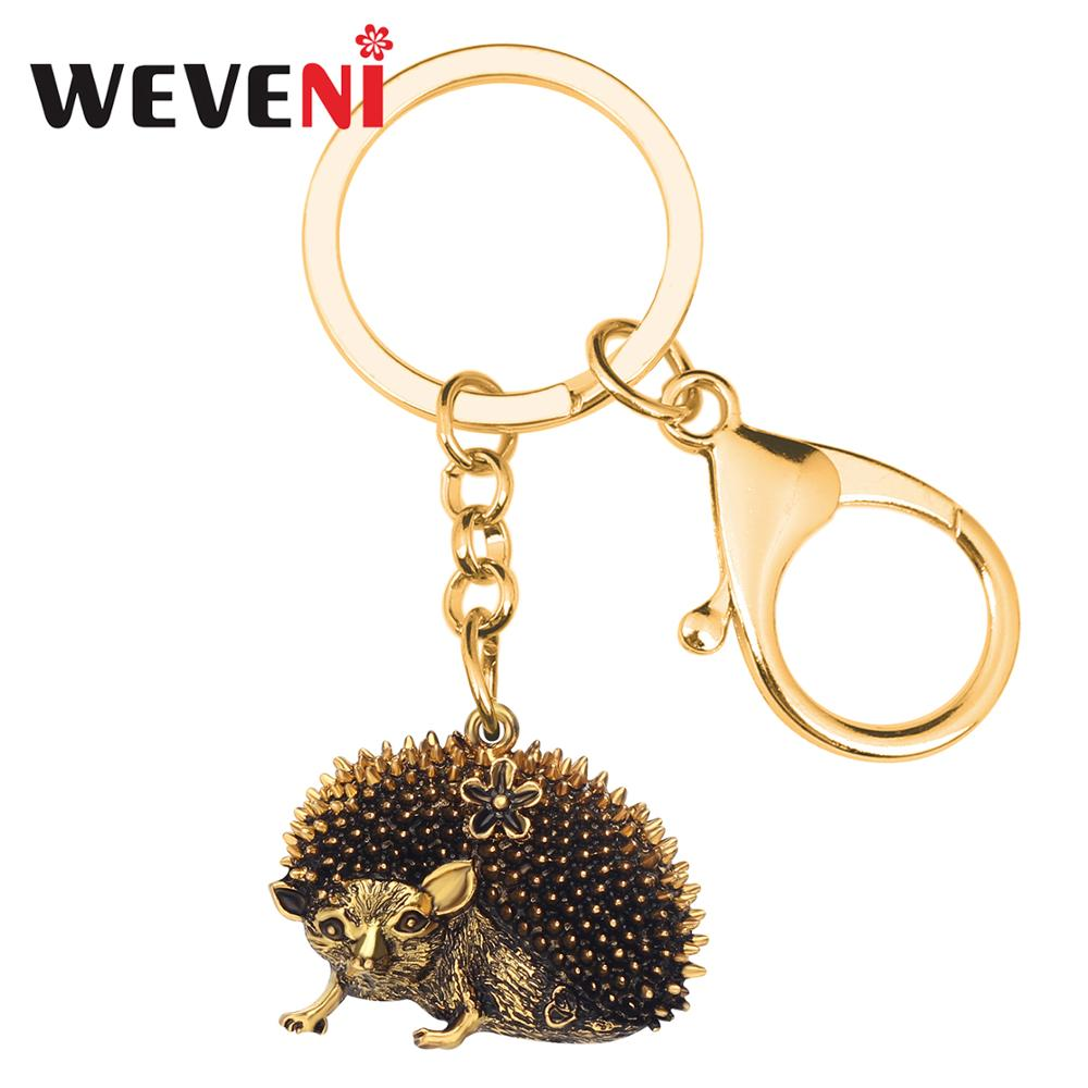 WEVENI Alloy Fashion Hipster Cool Hedgehog Key Chain Key Ring Wild Animal Jewelry For Women Girls Teens Bag Purse Charms Gift