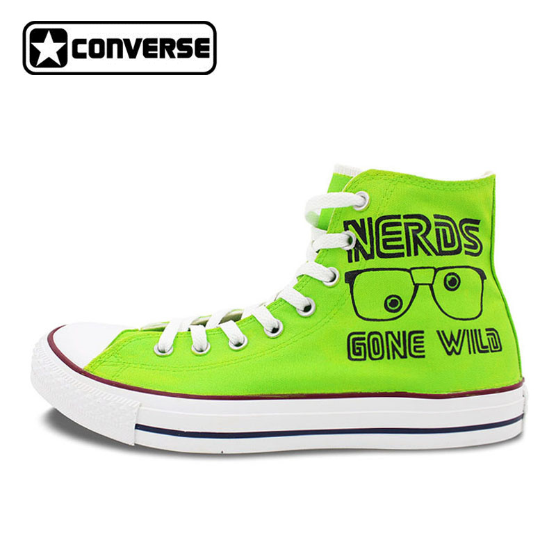 ... special 257d9 c7259 Bright Green Sneakers Converse All Star Nerds Gone  Wild Cube Design Custom Hand ... 8a3d5ab0c173