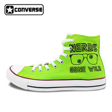 2a6f0296b1b5 Bright Green Sneakers Converse All Star Nerds Gone Wild Cube Design Custom  Hand Painted Shoes High Top Sneakers Woman Man