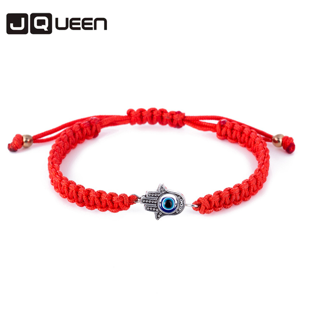 Women's Evil Eye & Hamsa Silver Charm Red String Protection Bracelet - 18 CM E24iVV