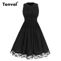 Tonval Lace Dress Vintage Style Women Black Sleeveless Pleated Dress Formal Evening Party Summer Dresses