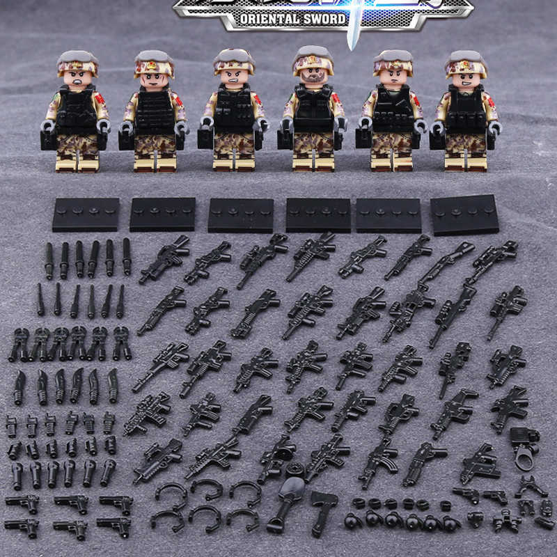 military Oriental sword soldiers brickmania minifigs block ww2 China D.F.S.J army special forces figure gun weapon bricks toys