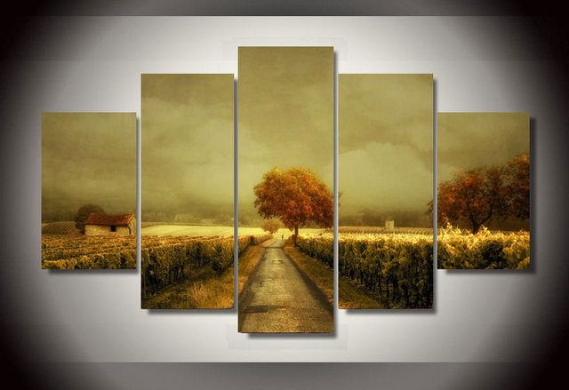 Framed Printed through the vineyard picture Painting wall art room ...