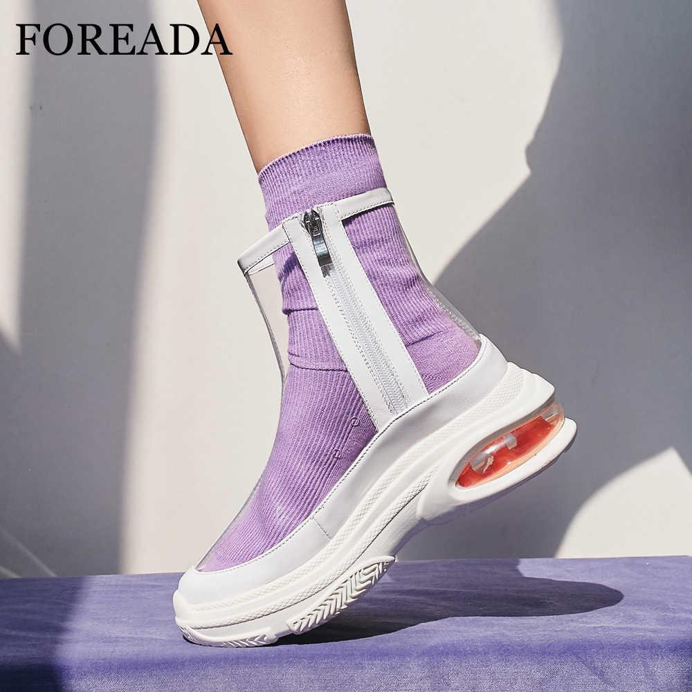 FOREADA Düz Platform yarım çizmeler Kadınlar Şeffaf Botları Marka Tasarım Yuvarlak Ayak kısa çizmeler Bayan Ayakkabı Bahar Ayakkabı Beyaz