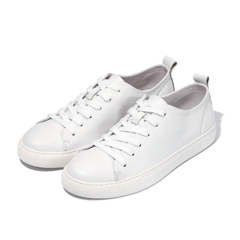 สหรัฐ6 10เทรนด์นุ่มหนังแท้บุรุษลูกไม้ขึ้นรองเท้าผ้าใบแฟชั่นเด็กนักเรียนสบายๆแบนรองเท้าหนังสีขาว-ใน รองเท้าลำลองของผู้ชาย จาก รองเท้า บน   2