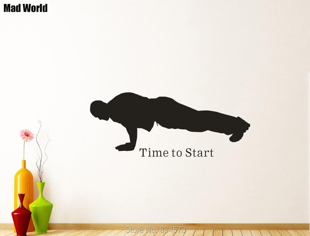 Mad World-Time To Start Sport People Man Gym Wall Art Stickers Wall Decal Home DIY Decoration Removable Room Decor Wall Stickers
