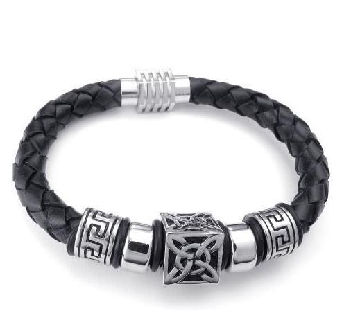 23 cm quadrado redondo preto homens pulseira de couro de aço Inoxidável fecho charme pulseiras frete grátis 071376 77