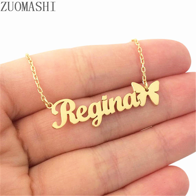 Personalized Name Necklace With Butterfly Symbol Custom Name Statement Necklace Personalized Jewelry Bridesmaid Gift Handmade