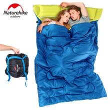 Naturehike זוגות כפול חיצוני שקי שינה קמפינג שק שינה וטיולים 2.15 m * 1.45 m נייד שק שינה כרית