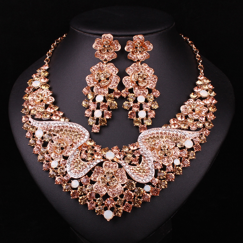 Fashion Bridal Jewelry Sets Wedding Necklace Earring For Brides Party Accessories Gold Color Crystal Jewellery Gift Women In From