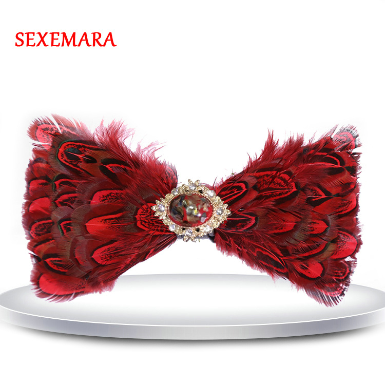Muti-Colors Option Hand Made Feather Bow Tie With Rhinestone Wedding Party Casual Bow Tie With Gift Box