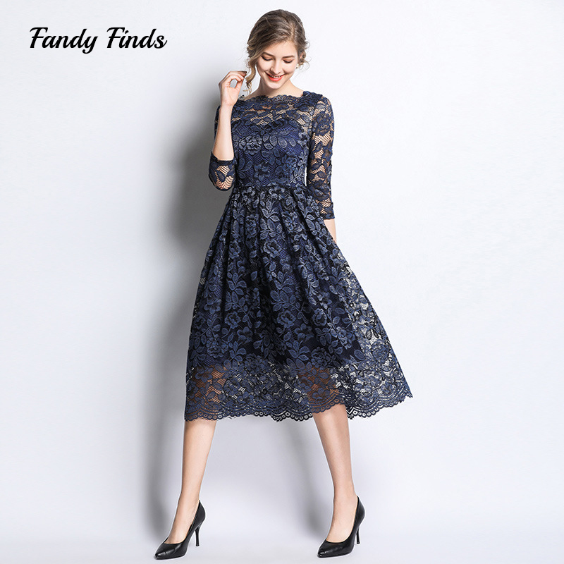 3f084c37d18c6 US $25.8 40% OFF|Fandy Finds Lace Dress Women Embroidery Diffuser Spring  Sexy Party Engagement Navy Flower Ladies XXXL Slim Banquet Dress-in Dresses  ...