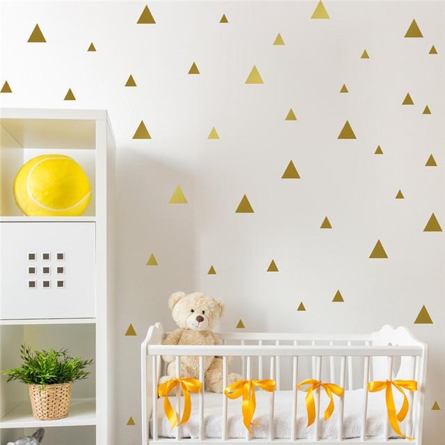 Gold Triangle Wall Sticker Vinyl Decals (Set of 35pcs) , Gold ...