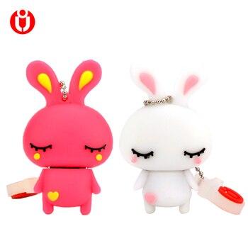 Conejo lindo usb flash drive 1 GB 2 GB 4 GB 8 GB 16 gb 32 gb 64 GB 128 GB pen drives usb memoria usb de memoria usb, colgante de conejo catoon 32G