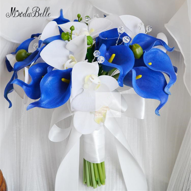 Blue And White Flowers For Weddings: Modabelle Royal Blue Calla Lilys And White Orchid Wedding