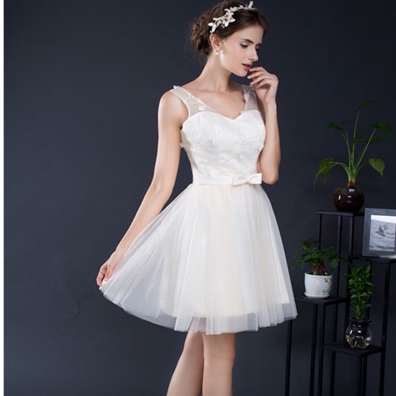 Ruthshen Short Cocktail Party Dresses Cheap V Neck Lace Tulle Mini