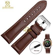หนังแท้สายนาฬิกาข้อมือสมาร์ทสาย26มิลลิเมตรสำหรับG Arminดีเร็กFenix3 Fenix 3นาฬิกาแฮนด์เมดวงสายรัดข้อมือสร้อยข้อมือเข็มขัด