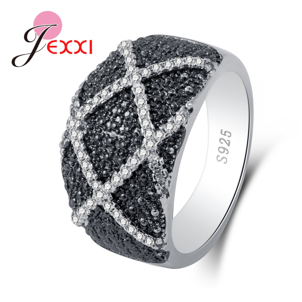 New Small Shinning Elegant Black Rhinestone Big Classic Style Pure 925 Sterling Silver Brand Rings Great Jewelry Gift
