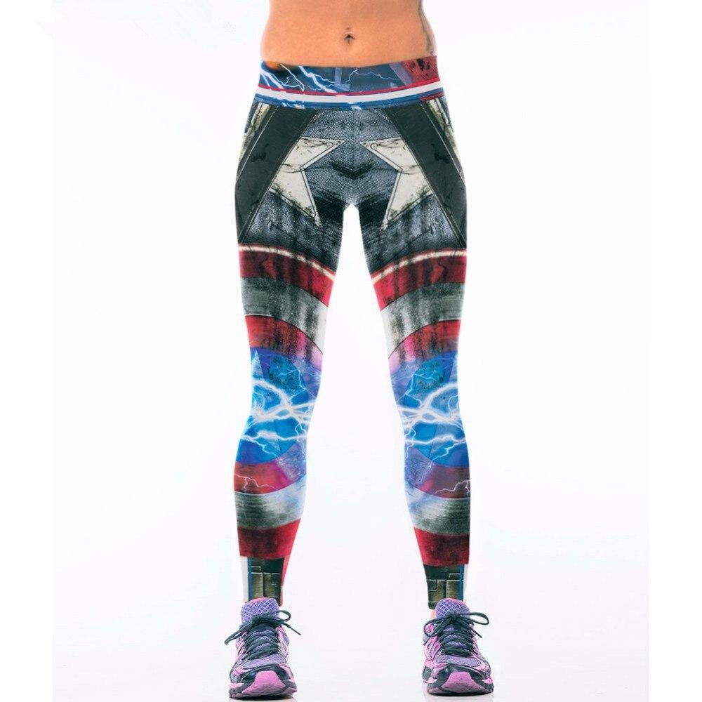 America Captain Print Leggings for Women Wide Waistband Knitted Sports  Skinny Leggins August New Arrival Activewear Leggings